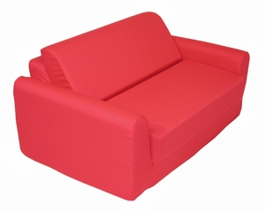 "Foam Furniture Kids Sofa Sleeper Twin 38"" in Red - 32-4200-608"
