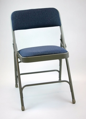 Folding Chair - Metal Folding Chair (Set of 4) with Fabric Seat and Back in Blue / Grey - ACT3000AFBLUEGREY-SET