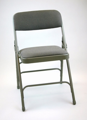 Folding Chair - Metal Folding Chair (Set of 4) with Fabric Seat and Back in Grey / Grey - ACT3000AFGREY-SET