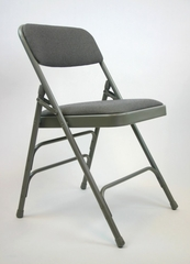 Folding Chair - Metal Folding Chair (Set of 4) with Fabric Seat and Back in Black / Black - ACT3000AFBLACK-SET