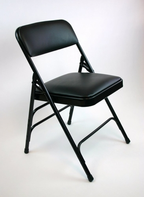 Folding Chair - Metal Folding Chair (Set of 4) with Vinyl Padded Seat and Back in Grey - ACT3000AVGREY-SET