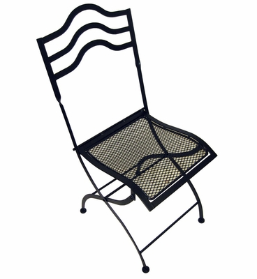 Folding Chair Squiggle Top (Set of 2) - Black - Pangaea Home and Garden Furniture - BT-L034CH-K
