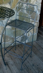 Folding Classic Iron Bar Stool - Pewter - Pangaea Home and Garden Furniture - FM-NT0026