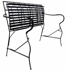 Folding Classic Iron Garden Bench - Black - Pangaea Home and Garden Furniture - FM-NT0016-K