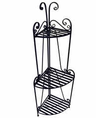 Folding Corner Bakers Rack Three Shelves - Pangaea Home and Garden Furniture - BT-FL006-K