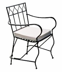 Folding Garden Arm Chair with Cushion - Black - Pangaea Home and Garden Furniture - FM-NT0017-K