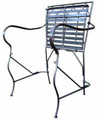 Folding Garden Arm Chair with Cushion - Pewter - Pangaea Home and Garden Furniture - FM-NT0017