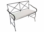 Folding Iron Garden Bench with Cushion - Black - Pangaea Home and Garden Furniture - FM-C2288-K