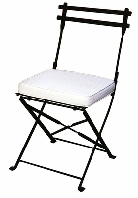 Folding Iron Garden Chair with Cushion - Black - Pangaea Home and Garden Furniture - FM-C3040DN-K