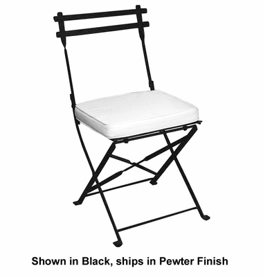 Folding Iron Garden Chair with Cushion - Pewter - Pangaea Home and Garden Furniture - FM-C3040DNCS