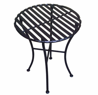 Folding Iron Side Table - Round Pewter - Pangaea Home and Garden Furniture - FM-C4853