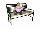 Folding Slatted Iron Garden Bench - Black - Pangaea Home and Garden Furniture - FM-HV0018-K