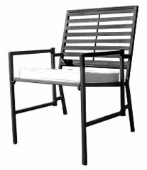 Folding Slatted Iron Garden Chair - Black - Pangaea Home and Garden Furniture - FM-HV0019-K