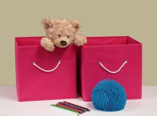 Folding Storage Bins (Set of 2) in Hot Pink with White Rope Handles - RiverRidge - 02-015