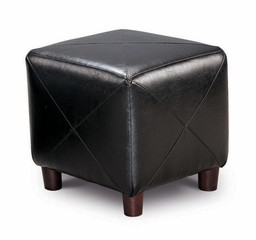 Foot Stool / Seating in Black Bycast Vinyl - Coaster