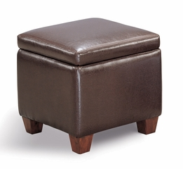 Foot Stool / Seating in Dark Brown Bycast Vinyl - Coaster