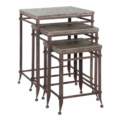 Foundry 3-Piece Square Nested Tables in Antique Pewter - Powell Furniture - POWELL-730-266