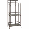 Foundry Tall 3 Shelf Bookcase with Gallery Crown in Antique Pewter - Powell Furniture - POWELL-730-250
