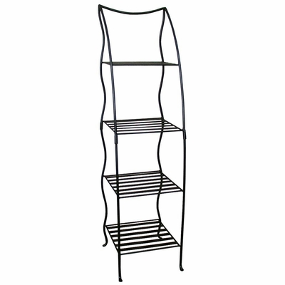 Four Layer Iron Plant Shelf - Black - Pangaea Home and Garden Furniture - FM-C2244P-K