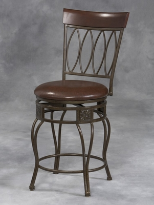 Four Oval Back Bar Stool - Linon Furniture - 02563MTL-01-KD-U