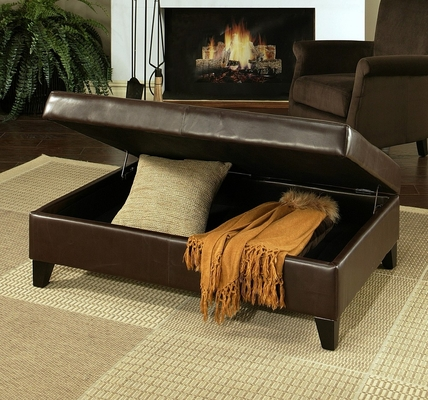 Frankfurt Leather Storage Flip-Top Ottoman in Dark Brown - Abbyson Living - HS-OT-002