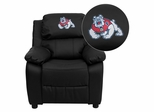 Fresno State University Bulldogs Black Leather Kids Recliner - BT-7985-KID-BK-LEA-40012-EMB-GG