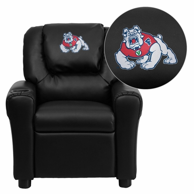 Fresno State University Bulldogs Embroidered Black Vinyl Kids Recliner - DG-ULT-KID-BK-40012-EMB-GG