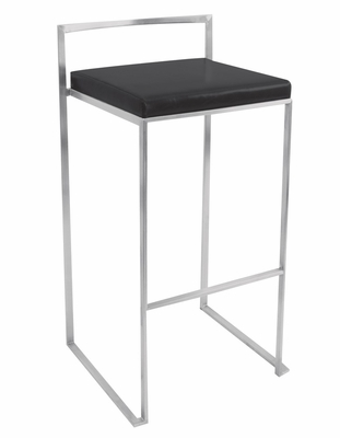 Fuji Stacker Barstool Black - LumiSource - BS-BG-FUJI-BK