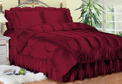 Full Bed Sheet Set - Charmeuse II Satin 230TC Woven Polyester in Red - 100FCB2RED