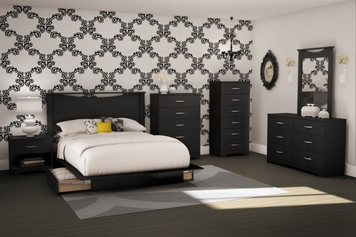 Full/Queen Size Bedroom Furniture Set 71 in Solid Black - Step One - South Shore Furniture - 3107-BSET-71