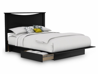 Full/Queen Size Platform Bed with Headboard in Solid Black - South Shore Furniture - 3107-FQBED-13