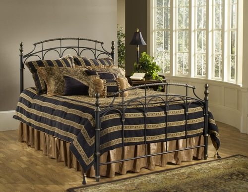 Full Size Bed - Ennis Full Size Bed in Rubbed Gold and Satin Beige - Hillsdale