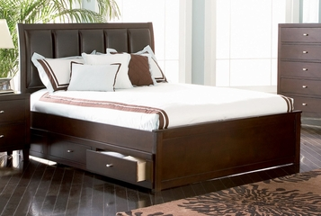 Full Size Bed - Lorretta Full Size Bed with Underbed Storage Drawers in Deep Brown - Coaster - 201511F-SET