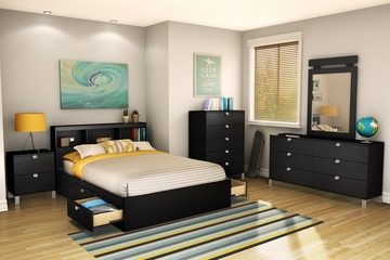 Full Size Bedroom Furniture Set 72 in Solid Black - Spark - South Shore Furniture - 3270-BSET-72
