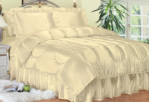 Full Size Comforter Set - Charmeuse Satin 4-Piece in Bone - 450FL2BONE