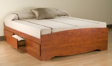 Full Size Platform Storage Bed in Cherry - Monterey Collection - Prepac Furniture - CBD-5600