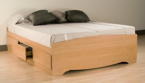 Full Size Platform Storage Bed in Maple - Sonoma Collection - Prepac Furniture - MBD-5600