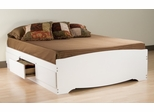Full Size Platform Storage Bed in White - Monterey Collection - Prepac Furniture - WBD-5600
