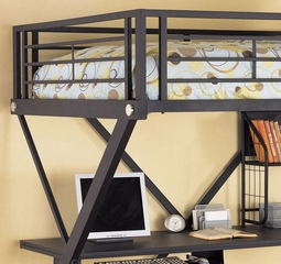 Full Size Study Loft Bunk Bed - Z-Bedroom - Powell Furniture - 354-117