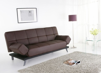 Fusion Leather Convertible Sofa in Dark Brown - Abbyson Living - AD-018L-BRN