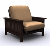 Futon Chair Frame - Carmel Jr. Twin Chair Metal Wood in Espresso - 35-6902-004