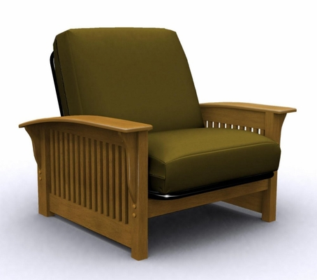 Futon Chair Frame - Crestridge Jr.Twin Chair Metal Wood in Medium Oak - 35-6302-008