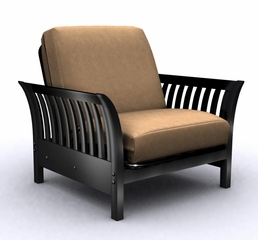Futon Chair Frame - Florenzia Jr. Twin in Black Lacquer - 35-6602-050