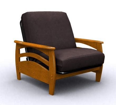 Futon Chair Frame - Montego Jr. Twin Chair Metal Wood in Honey Oak - 35-3802-010