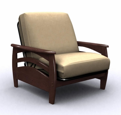 Futon Chair Frame - Montego Jr. Twin Chair Metal Wood in Walnut - 35-3802-003