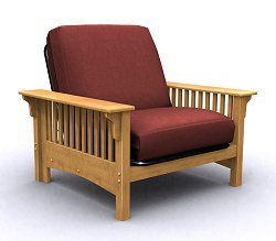 Futon Chair Frame - Santa Barbara Jr. Twin Chair in Golden Oak - 35-0402-002