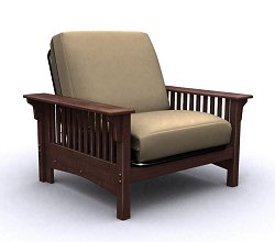 Futon Chair Frame - Santa Barbara Jr. Twin Chair in Walnut - 35-0402-003