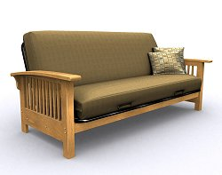 Futon Frame - Bridgeport Full Size Metal Wood Futon in Golden Oak - 35-2914-002