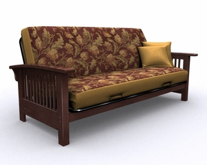Futon Frame - Bridgeport Full Size Metal Wood Futon in Walnut - 35-2914-003