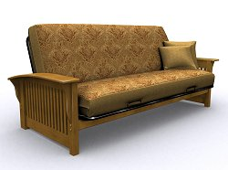Futon Frame - Crestridge Full Size Metal Wood Futon in Medium Oak - 35-6304-008